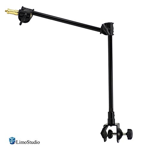 LimoStudio 11 to 24 inch, Articulating 360 Degree Adjustable Sliding & Rotating Magic Arm with Table Mounting Clamp and 1/4 inch Threaded Equipment Mounting Stud for Photo and Video Studio, AGG2495 by LimoStudio
