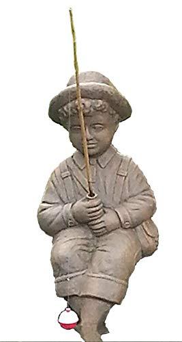 Fishing Boy Cast Stone Statue-sculpture/pond and garden decor/accent- Great Garden Gift Idea! ()