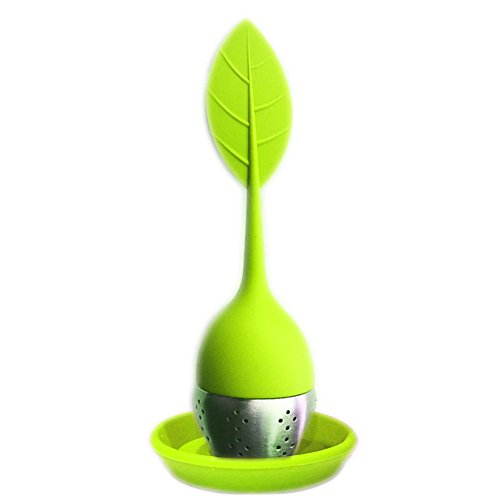 Long Handled Colander (FUGAMI Silicone Loose Leaf Tea Infuser Strainer with Resting Plate - * Beautiful New Colors * (Green))
