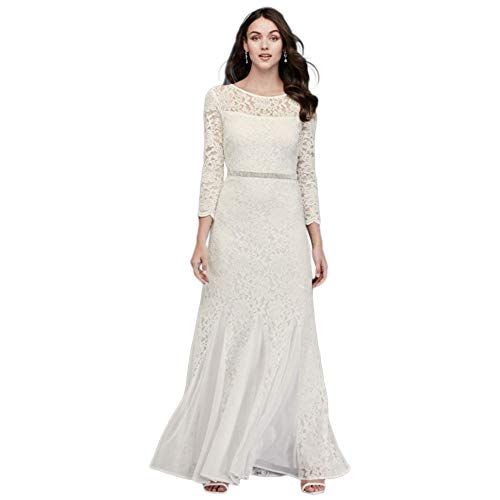 Long Sleeve Lace and Sequin Sheath with Godets Style 649793D, Ivory, 2