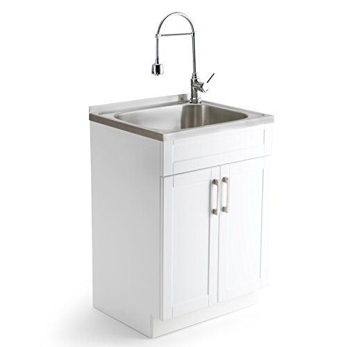 Simpli Home Hennessy Laundry Cabinet with Faucet and Stainless Steel Sink, 24'', Pure White by Simpli Home