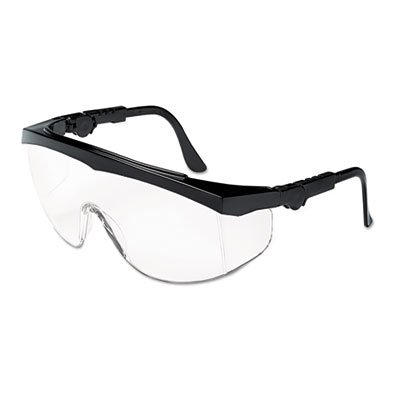 Tomahawk Wraparound Safety Glasses, Black Nylon Frame, Clear Lens, 12/Box, Sold as 12 Each