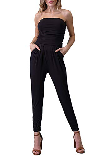 Vivicastle USA Womens Strapless High Waist Casual Pockets Wide Leg Tapered Jumpsuit (Black, - Jumpsuit Strapless
