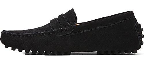 Odema Hombre Slip On Penny Mocasines Casual Zapatos de cuero mocasines Negro