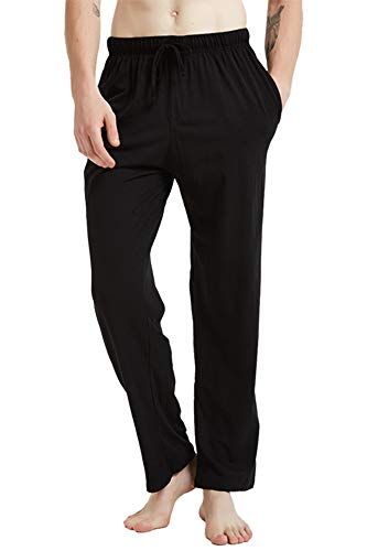 JINSHI Men's Loose-Fitting Pants Cotton Jersey Knit Pajama Pants Black Size M