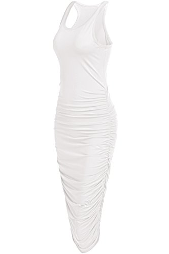 OURS Women's Sexy Summer Sleeveless Ruched Sundress Fold Bodycon Midi Tank Dress (L, White)