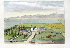Residence and Ranch of J.H. Rice, Near Guadalupe, Santa Barbara, Co. Cal (Nine Santa West)