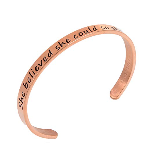 RIVERTREE She Believed She Could So She Did Stainless Steel Inspirational Expandable Wire Bangle Bracelets With Message Charm