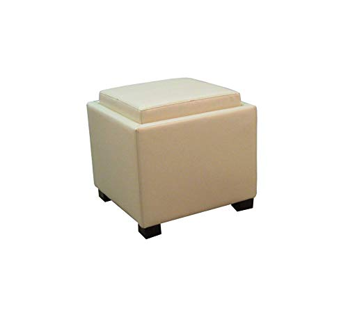 Wood & Style Furniture Venzia Bonded Leather Square Ottoman Ottomans & Cubes, Beige Home Office Commerial Heavy Duty Strong Décor