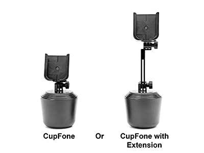 WeatherTech CupFone - Universal Adjustable Portable Cup Holder Car Mount for Cell Phones - Select from Multiple Configurations - CupFone/CupFone with Extension/Extension/Billet Alluminum Knobs