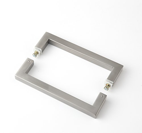 Rembrandt - Square 12'' Modern & Contemporary Double Shower Pull Stainless Steel for Entrance/Entry/Shower/Glass/Shop/Store, Interior/Exterior Barn & Gates - Brushed Nickel by Rembrandt (Image #1)