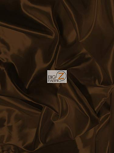 (Solid Shiny Bridal Satin Fabric by The Yard DIY Tablerunner Apparel Wedding Dress Accessories Lining (Brown))