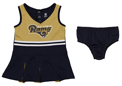 Outerstuff NFL Girls Infant (12-24) and Toddler (2T-4T) Los Angeles Rams Cheerleader Dress Set, Navy 12 Months