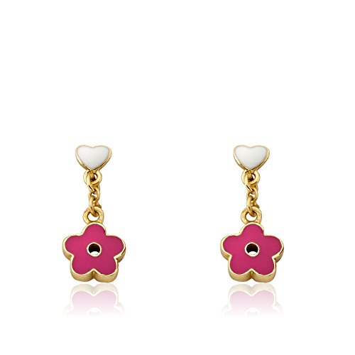Little Miss Twin Stars Girls Earrings - 14k Gold-Plated White Heart With Hot Pink Flower Earring - Surgical Steel Post, Hypoallergenic and Nickel Free For Sensitive Ears