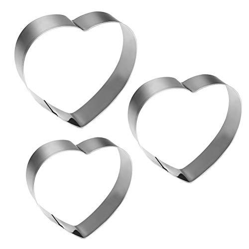 KSPOWWIN 3 Pieces Heart Shape Cookie Cutters Biscuit Sandwich Cutters in Graduated Sizes Shape ()
