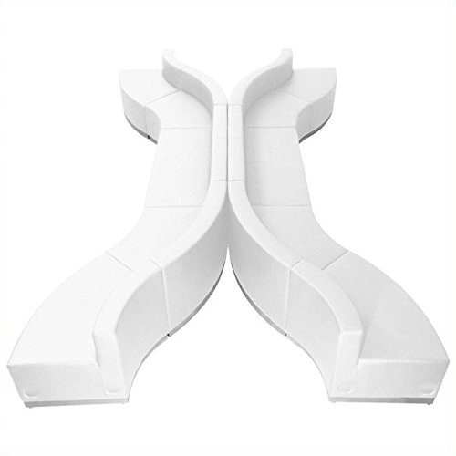 Flash Furniture ZB-803-630-SET-WH-GG 10 Pieces Hercules Alon Series White Leather Reception Configuration