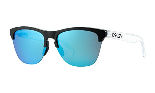 Oakley Frogskins Lite Sunglasses Matte Black/ Matte Clear with Prizm Sapphire Lens + Sticker (Frogskins Matte Black)