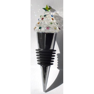 Christmas Tree Wine Topper by Bjcrystalgifts Made with Swarovski Crystal