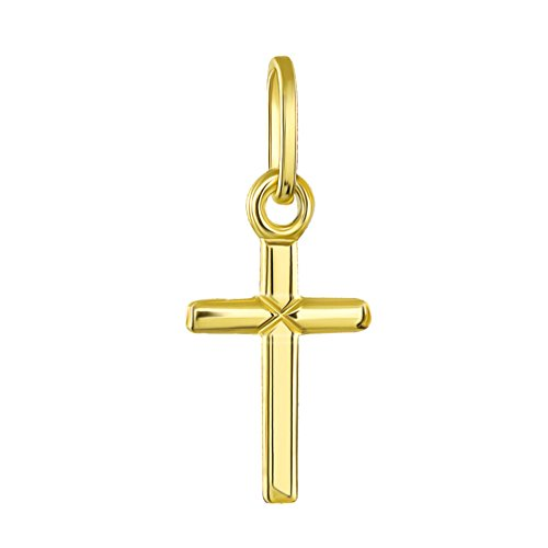 Gold Cross Baby 14k (14K Yellow Gold Simple Small Baby Cross Charm Pendant)