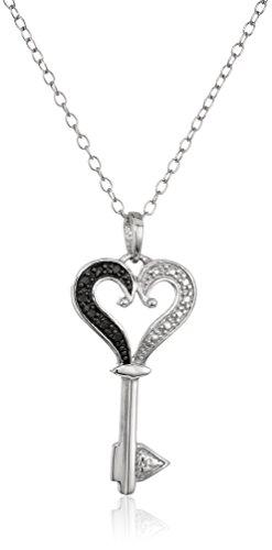 Sterling Silver Black Diamond Heart Key Pendant Necklace, 18'