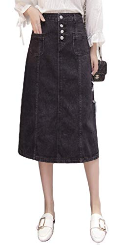 Itemnew Women's Stylish High-Waist Side-Split CRIS-Cross Pockets Denim Midi Skirt (Large, Black)