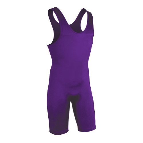 High Cut Lycra Singlet - Brute Men's Lycra High Cut Wrestling Singlet, Purple, X-Small