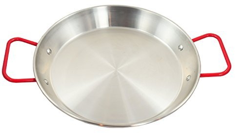 (Sunrise Stainless Steel Paella Pan with Red Handle (8