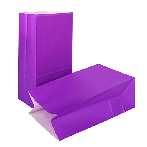 KEYYOOMY 50 CT Small Paper Bags Purple Party Goody Bags for Wedding Baby Shower Kid's Birthday Party (Purple, 50 CT, 3.1 X 5.1 X 9.4 In)