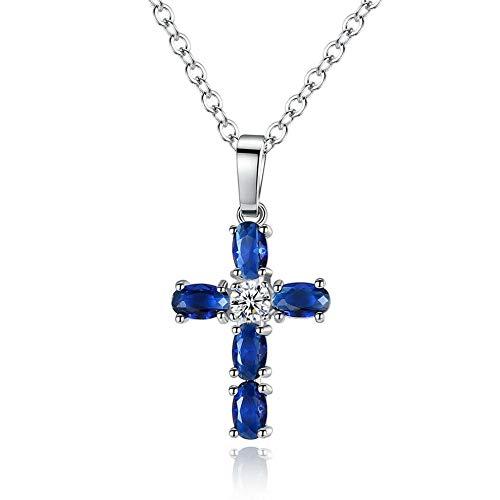 (Cross Sapphire White Topaz Silver for Women Jewelry Necklace Pendant 1 NL113)