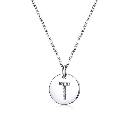 Mother's Day Gifts Dainty Initial Necklace S925 Sterling Silver Letters A-Z 26 Alphabet Disc Initial Necklace for Women Girl