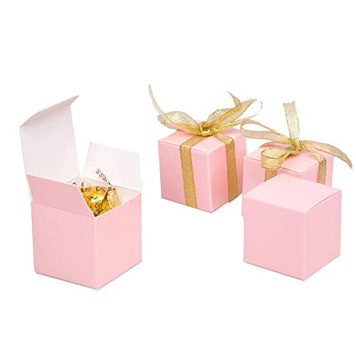(AimtoHome Pink Candy Boxes 2x2x2 inch Small Square Paper Boxes, Party Favor Boxes,Great for Engagement,Wedding, Bride,Birthday,Baby Showers,Pack of 50)