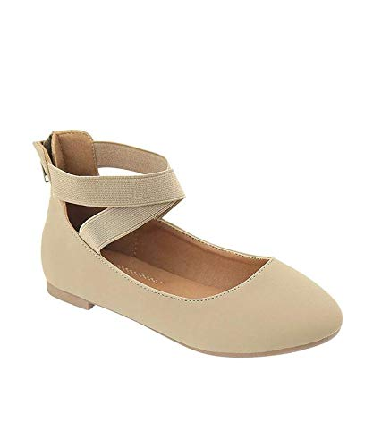Taupe Nubuck Footwear - ANNA Girl Kids Dress Ballet Flat Elastic Ankle Strap Faux Suede Shoes Taupe Nubuck (12)