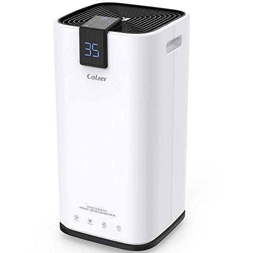 COLZER 30 Pints Portable Dehumidifier, Large Capacity, Compact Dehumidifier for Home, Bathroom, Kitchen, Bedroom, for Spaces Up to 1500 Sq Ft, Continuous Drain Hose Outlet (30 Pint) ()
