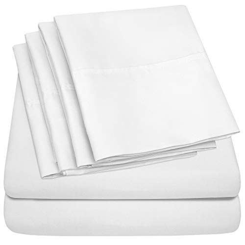 King Size Bed Sheets - 6 Piece 1500 Thread Count Fine Brushed Microfiber Deep Pocket King Sheet Set Bedding - 2 Extra Pillow Cases, Great Value, King, White