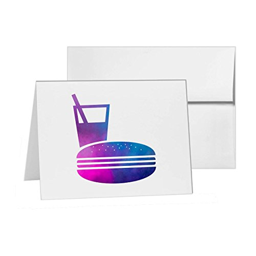 Hamburger Cheeseburger Fast Food Junk, Blank Card Invitation Pack, 15 cards at 4x6, Blank with White Envelopes Style - 7483