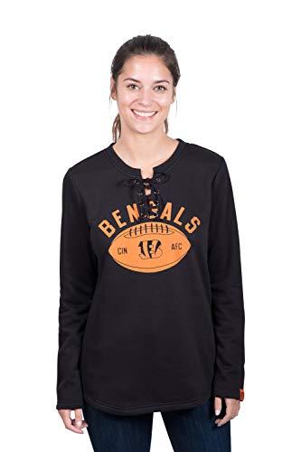 Icer Brands NFL Cincinnati Bengals Women's Fleece Sweatshirt Lace Long Sleeve Shirt, Black, Small