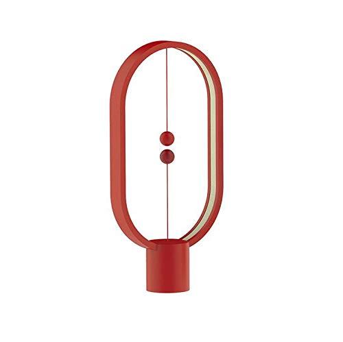GCCLCF LED-Tischlampe, Elliptischer Magnetischer Mid-Air-Schalter USB-Betriebene Nachttischlampe, Warme Augenschutzlampe, Nachtlicht, Schlafzimmerdekoration, Wohnzimmer, Büro,rot