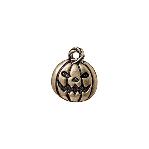 TierraCast Charm, Jack O'lantern, 18mm, Antiqued Brass Oxide Finish Pewter, 4-Pack (Halloween Jack O Lantern Designs)