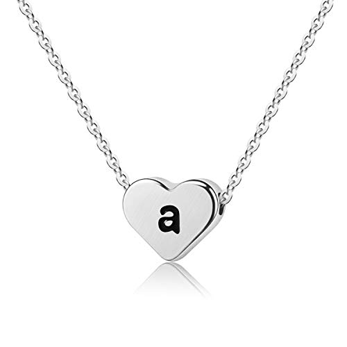 WIGERLON Initial Letter Heart Necklace:Stainless Steel 925 Silver Plated for Women and Girls from A-Z Letter ()