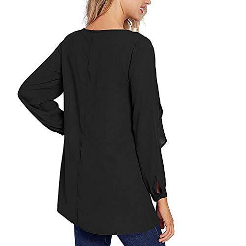 Moda Tops Casuales de Mujer O Blusas de Cuello Manga Larga sólida Volantes oscilación Camisa ❤ Manadlian: Amazon.es: Ropa y accesorios