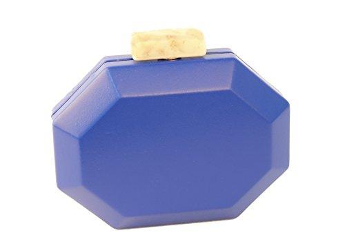 Queendom - Cartera de mano de poliuretano para mujer azul real