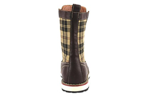 Polar Fox Mens 501061 Stivaletti Stringati Con Tacco Alto Firmati Plaid Stampa Marrone