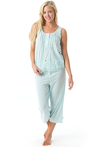 Casual Nights Women's Embroidered Dot Print Tank Top Capri Pajama Set - (Embroidered Dot Capri Pant)