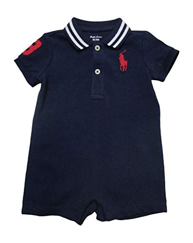 (Ralph Lauren Baby Boys Shortalls Bodysuit Big Pony Mesh Pique Cotton (12 Months, French Navy))