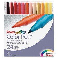 Pentel Color Pen Set of 24 Assorted (S360-24) (Marker Pentel Pen Permanent)