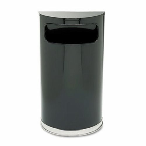 Fire Safe Half Round Container - Rubbermaid Commercial SO820BPL European & Metallic Series Receptacle Half-Round 9gal Black/Chrome