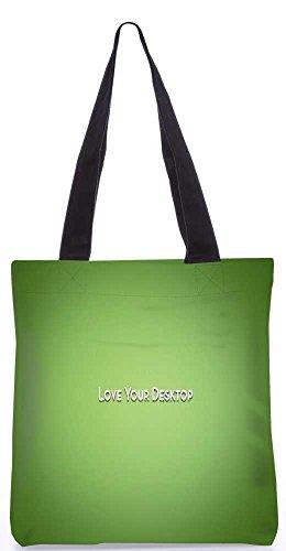 """Snoogg Lieben Ihren Desktop-Grün Tragetasche 13,5 X 15 In """"Shopping-Dienstprogramm Tragetasche Aus Polyester Canvas"""