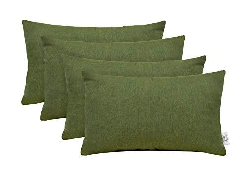 RSH Décor Set of 4 Indoor Outdoor Decorative Rectangle Lumbar Throw Pillows made of Sunbrella Canvas Fern Green (20