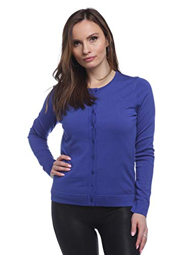 August Silk Women's Long Sleeve Crew Neck Jersey Cardigan with Tub Trim, Royal Blue, Large