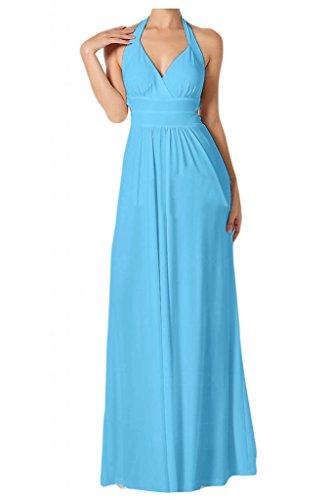 Toscana novia Chic al cuello con estampado de Gasa de noche por la noche de la moda de largo de dama de honor vestidos de bola Prom vestidos de fiesta Azul